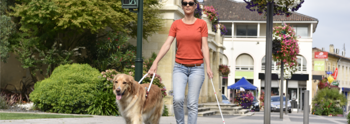 woman and dog walking